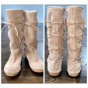 Ralph Lauren Boho Purple Collection Lace Up Boots